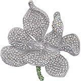 EVER FAITH Women's Austrian Crystal Orchid Flower Petal Brooch