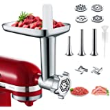 Metal Meat Grinder Attachments for KitchenAid Stand Mixers, Cofun Accessories Included 4 Grinding Plates, 3 Sausage Stuffer T