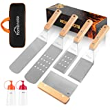 HOMENOTE Griddle Accessories Kit, 7Pc Professional BBQ Kit in Gift Box - Heavy Duty Wooden Handle Stainless Steel Griddle Too