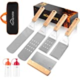 HOMENOTE 7Pc Professional BBQ Griddle Accessories Kit in Gift Box - Heavy Duty Wooden Handle Stainless Steel Griddle Tool Set