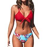CUPSHE Women's Red Top Floral Print Bottom Bikini Set Low Waisted Swimwear