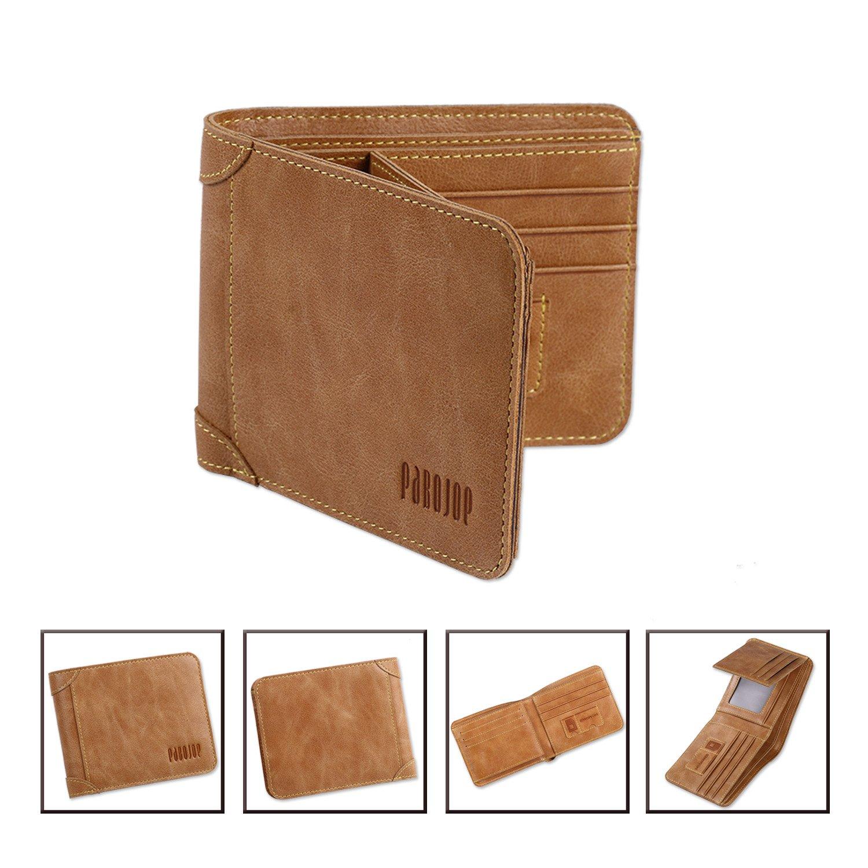 [パボジョエ] Pabojoe 二つ折り 財布 メンズ ウォレット 本革 カーキ