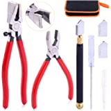 Rustark 3Pcs Premium Glass Running Breaking Pliers and Class Cutter Kit, Heavy Duty Glass Cutting Tool with Rubber Tip, Work