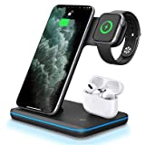 Wireless Charger 3 in 1 Charger Stand 15W QI Fast Charging Station for iWatch 6/SE/5/4/3/2,AirPods, Compatible with iPhone 12