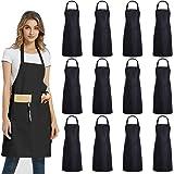 DUSKCOVE 12 PCS Plain Bib Aprons Bulk - Black Commercial Apron with 2 Pockets for Kitchen Cooking Restaurant BBQ Painting Cra