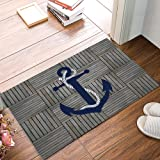 Arts Language Funny Doormats for Entrance Way Indoor Front Door Welcome Rugs Nautical Anchor Vintage Wood Grain Printed Non-S