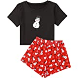 Romwe Women's Cute Cartoon Print Pajamas Set Tee and Shorts Set Sleepwear