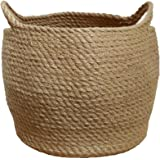 Jute Storage Baskets Dual Handles Storage Bin Basket Gift Baskets Floor Bin Pot Plant Cover Basket Belly Storage Baskets Carr