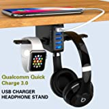 Yostyle Headphone Stand with USB Charger,Under Desk 5 USB Port QC3.0 Quick Charging Station & Headset Hanger and Mount with C