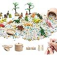 Huray Rayho Dinosaur Figures Toys Sensory Bin Kits Children Dinosaur Figures Dolls Includes Trees Fences, Sensory Activity fo