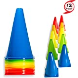 """Urakn Sports 2"""" 9"""" 12"""" Inch Plastic Multicolored Cones 6 12 50 Pack Set - Perfect for Soccer, Football, Basketball Coaching,"""