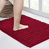 Walensee Bathroom Rug Non Slip Bath Mat (24x17 Inch Red) Water Absorbent Super Soft Shaggy Chenille Machine Washable Dry Extr