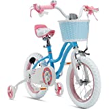 RoyalBaby Girls Kids Bike Stargirl 12 14 16 18 Inch Bicycle 3-9 Years Old Basket Training Wheels Kickstand Pink Blue Child's