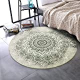 LEEVAN Round Wool Area Rug Traditional Throw Runner Rug Non-Slip Backing Soft Wool Floor Carpet for Sofa Living Room Bedroom