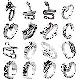 AIDSOTOU Mens Vintage Open Rings Set Frog Snake Skull Cool Punk Goth Ring for Men Women Girls Adjustable