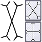 Siaomo 4 Pcs Triangle Sheet Fasteners and Crisscross or Straight Bed Sheet Holders Straps, Fabric, Black, 2 Pcs Crisscross Bl