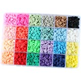 Bhuuno 4800Pcs Flat Round Polymer Clay Beads Jewelry Marking Kit for Bracelets Necklace, Handmade Loose Spacer Disc Beads DIY
