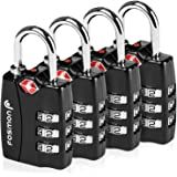 TSA Approved Luggage Locks, Fosmon (4 Pack) Open Alert Indicator 3 Digit Combination Padlock Codes with Alloy Body for Travel
