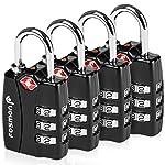 TSA Approved Luggage Locks, Fosmon Open Alert Indicator 3 Digit Combination Padlock Codes Alloy Body for Travel Bag, Suit...