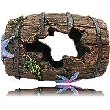 SLOCME Aquarium Broken Barrel Decorations - Betta Cave Hideout Wood Trunk Log for Fish Tank