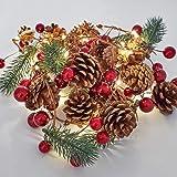 OasisCraft 6.5FT Prelit Christmas Garland Decorations of Red Berries, Pine Cones & Evergreen Pine Needle - 30 LED Lights Batt