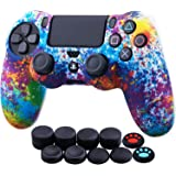 YoRHa Water Transfer Printing Camouflage Silicone Cover Skin Case for Sony PS4/slim/Pro Dualshock 4 Controller x 1(Spashing P