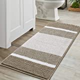 Super Absorbent Tufted Chenille Rug with Non Slip Backing, Gradient Taupe Stripe Pattern Microfiber Bath Rug, Machine Washabl