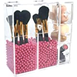 PuTwo Makeup Organizer With 2 Make Up Brush Holders and 3 Drawers All In One Case with Free New Large Rosy