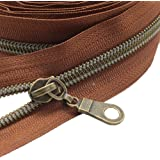 MebuZip #5 Antique Brass Metallic Nylon Coil Zippers by The Yard Bulk Coil Zipper Roll 10 Yards with 20pcs Pulls for DIY Sewi