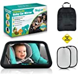 BabyLum Baby Backseat Car Mirror - View Infant In Rear Facing Carseat, Crash Safe, Crystal Clear Large Shatterproof Mirror, I