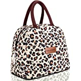 BALORAY Lunch Bag Tote Bag Lunch Bag for Women Lunch Box Insulated Lunch Container (Beige with leopard)