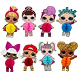 Doll Party Favors, 6pcs Cartoon LOL Honeycomb Centerpieces, Table Topper for Birthday Party Decoration, Double Sided Cake Top