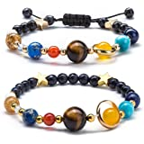 Fesciory Women Girls Solar System Bracelet Universe Galaxy The Eight Planets Guardian Star Natural Stone Beads Bracelet Bangl