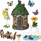 BangBangDa Miniature Fairy Garden Accessories - Small Fairy Figurines Decorations - Fairy House Table Chair Flower Kit for Gi