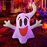 GOOSH 4Foot High Halloween Inflatable Hanging Ghost with Build-in Colorful Flashing LED Light Blow Up Inflatables for Hallowe