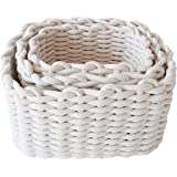 Set of 3 Cotton Rope Nesting Baskets in 3 Sizes for Bedroom, Clothes & Wardrobe Organisation, Home Decor, Nursery & Toys Stor