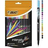 BIC Intensity Fineliner Felt Tip Pen Fine Point (0.8 mm) - Assorted Colours, Pack of 20 Fineliner Pens