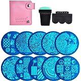 Biutee 10 Nail Plates +1 Stamper + 1 Scraper + Pack Bag Nail Art Image Stamp Stamping Plates Manicure Template Nail Art Tools