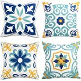 Outdoor Waterproof Throw Pillow Covers Set of 4 Floral Printed and Boho Farmhouse Outdoor Pillow Covers for Patio Funiture Ga