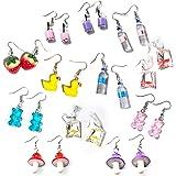 12 Pairs Cute Earrings Weird Earrings Funny Goldfish Earrings Water Bottle Earrings Milk Tea Dangle Earrings for Girls Women