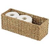 mDesign Natural Woven Seagrass Bathroom Storage Organizer Basket Bin; Use on Bathroom Vanity, Countertop, Toilet Tank - Stack