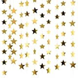 Patelai 130 Feet Golden Glitter Star Paper Garland Hanging Decoration for Wedding Birthday Christmas Festival Party (Set of A