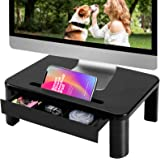 Vplus Compuer Monitor Stand Riser with Drawer Built with Storage Drawer, 3 Height Adjustable Monitor Riser for Computer, Lapt