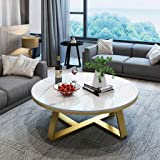 Modern Concise Coffee Table with Round Marble Top/Unique Design Gold Metal Base Nesting Tables - for Living Room and Office(C