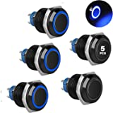 5Pcs 16mm Metal Latching Push Button Switch with Blue LED Light DC 12V/24V, Black ON/Off 4 Pin Self-Locking Round Waterproof