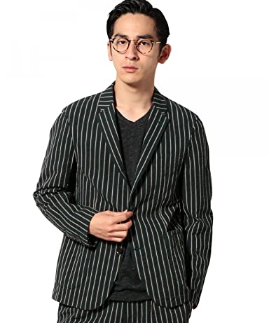 Cotton Linen Seersucker Stripe Jacket 3222-186-0266: Green