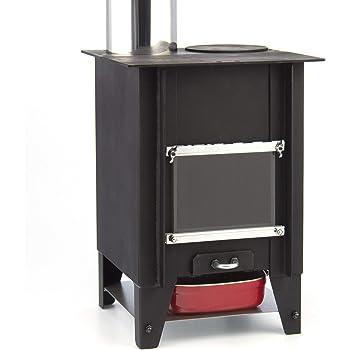 テーブル暖炉 『こばこ』 ロケットストーブ | φ90煙突付き ミニ薪ストーブ | 小窓で炎を眺めながら直火クッキングが卓上で楽しめる!