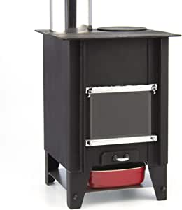 テーブル暖炉 『こばこ』 ロケットストーブ | φ90mm煙突付き ミニ薪ストーブ | 小窓で炎を眺めながら直火クッキングが卓上で楽しめる!