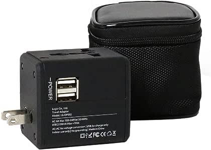 ロジック コンセントPLUSU 海外用 交換アダプター [A/C/O/BF・150ヶ国対応] USB付 マルチ変換プラグ 収納ポーチ付 充電器 スマホ 携帯電話 デジカメ ビデオカメラ ノートパソコン スマホ 充電 タブレット 4タイプのコンセントに対応 便利グッズ 海外旅行 iphone android