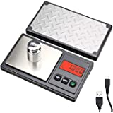 Gram Scale 220g / 0.01g, Digital Pocket Scale with 100g Calibration Weight,Mini Jewelry Scale, Kitchen Scale,6 Units Conversi